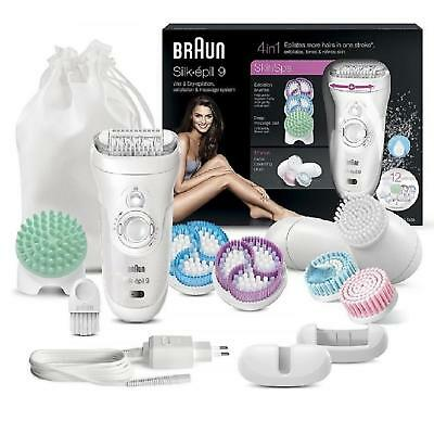 Braun Silk Epil 9 SkinSpa 9-969v Wet & Dry Epilator, Exfoliation 12 Attachments