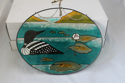 """Large Loon Suncatcher Hand Painted Glass 9.5"""" x 7.5"""""""