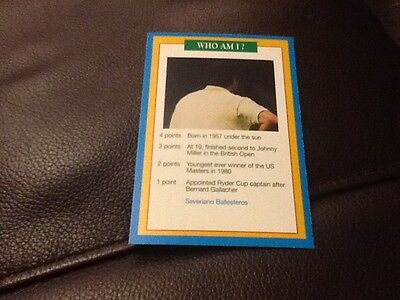 Seve Ballesteros Golf A Question of Sport Premier game card 1996/1997