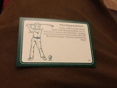 Seve Ballesteros Bernhard Langer / Golf / A Question of Sport game card / 1987