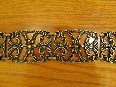 "Bronze Metal Belt With Gold Rhinestones Ornate Very Unique Adjustable 40""-49"" Ap"
