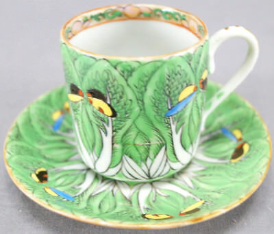6 Late 19th Century Chinese Export Famille Verte Cabbage Leaf Demitasse Cups