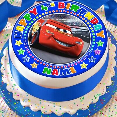 CARS LIGHTNING Mcqueen Edible 8 Personalised Birthday Cake Topper