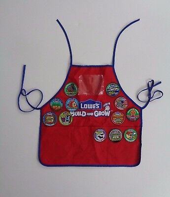 LOWES Youth Build and Grow Red Builders Vest with 12 Lowe's Patches Tools