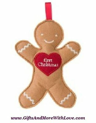 Janie and Jack NWT Tan Brown GINGERBREAD ORNAMENT FIRST CHRISTMAS ~ One Size