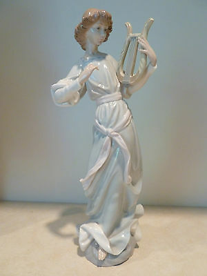Large Lladro Angel With Lyre #1321 Mint Cond Retired 1985 $700 Retail Value