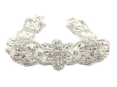 Stunning  Bridal Crystal Sash Rhinestone Pearl Beaded Silver Wedding Dress Belt