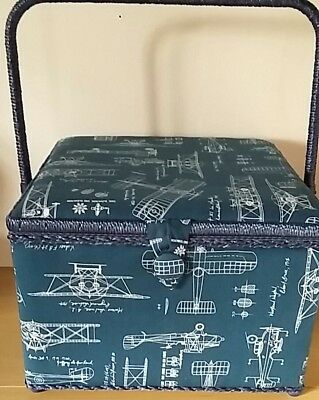 BNWT-Large-Square-Aviation Design on Blue  Fabric Covered Sewing Box