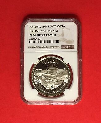 """EGYPT-1964 (AH1384) SILVER 50 Pt, NGC PF-69 ULTRA CAMEO """"DIVERSION OF THE NILE"""""""