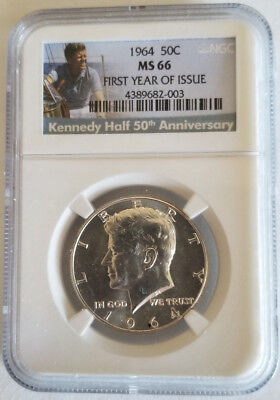 1964 P 90% Silver Kennedy Half Dollar Ngc Ms 66 First Year Of Issue + 50Th Anniv