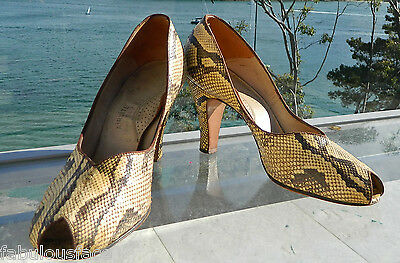 VINTAGE Couture 1940s-50s Original Rare Snake Skin Leather Heels Size 8-8.5