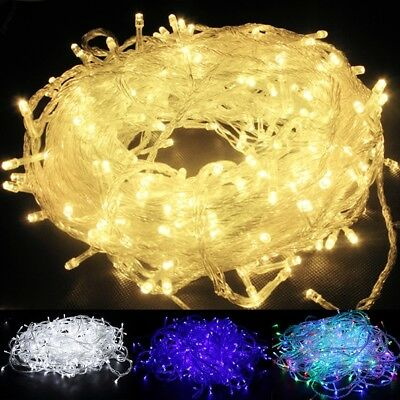 100 200 600LED Electric Corded Light Outdoor Fairy String Christmas Garden Light