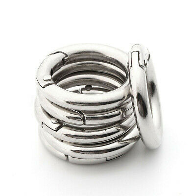 2~100X Mini Silver Circle Round Carabiner Spring Snap Clip Hook Keychain Hiking