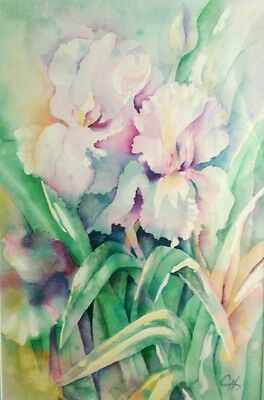 """Original Water Color Painting,  IRISES, Artist Signed,  Framed 21"""" x 29"""""""