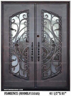 Florence Wrought Iron Double doors Operable Glass with Iron Pulls