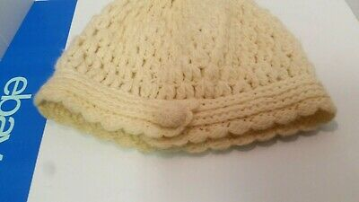 Prana Womens Knitted Fuzzy Beanie Beige Hat Handmade One Size fits all 43618f3a0a69