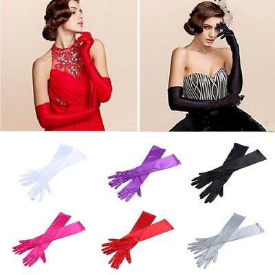 Fashion Ladies Bridal Long Satin Finger Gloves Party Dress Prom Evening Wedding