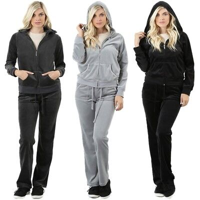 New Zenana Velour Tracksuit Zippered Hoodie Set  S M L XL