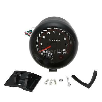3.75'' Universal Car Tachometer Tacho Gauge Meter LED Shift Light 0-8000RPM Y8M4