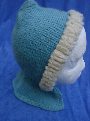 Vintage 40s 50s Childs Wool Hood Cap  Blue TRIM S