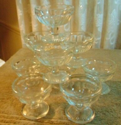 "Lot of 9 Antique HEISEY PLAIN PANEL RECESSED 3 1/4"" Low Flat Sherbet Glasses"