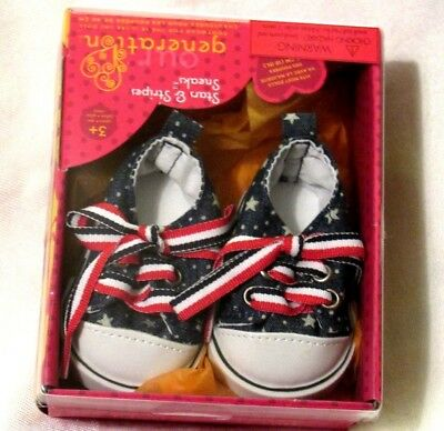 """Our Generation Stars & Stripes American USA Tennis Shoes 18"""" Girl Doll Clothes"""