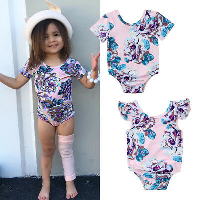 c764628599bb USA Floral Newborn Baby Girl Short Sleeve Romper Jumpsuit Outfits Clothes  Summer