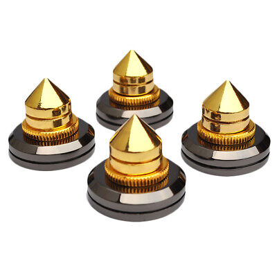 4 Pcs M6*28mm  Stand Cone Feet + Base Pads Golden Brass Speaker Spikes Isolation