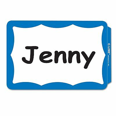 100 Blue Border Badges Name Tags Labels ID Stickers Peel and Stick Adhesive