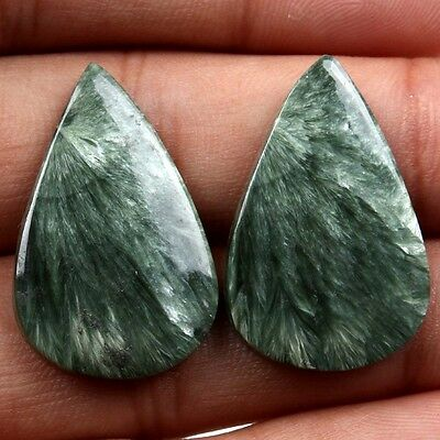 Excellent  SERAPHINITE Flat  Pear Cabochon 26 Cts Gemstone 29x18 mm  s-18562