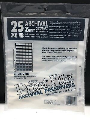 Print File Archival 35mm Negative Preservers 35-7HB Pack of 25 New In Package