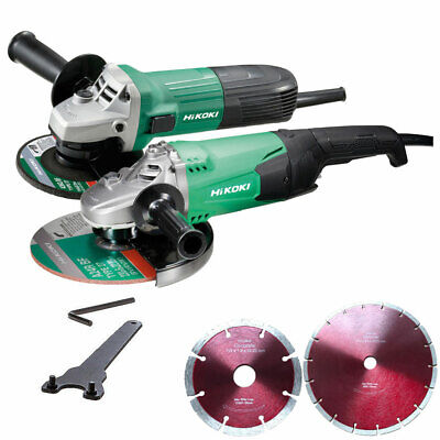 "Hitachi 4.5"" + 9"" Angle Grinders Twin Pack 240V G12ST + G23ST + Diamond Blades"