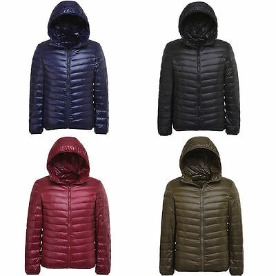 Mens Winter Warm Down Parka Hooded Lightweight Coat Jacket Mens Outdoor Outwear