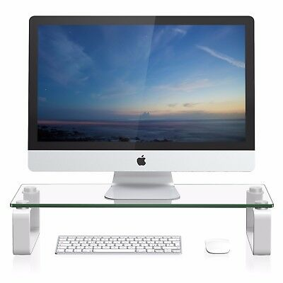 FITUEYES Glass Monitor Riser Laptop PC IMAC Stand Desk Organizer