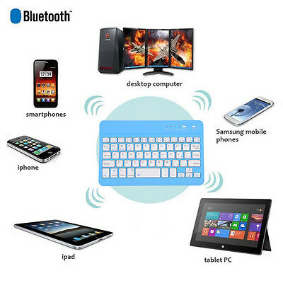"7"" Ultra Slim Multimedia Wireless Bluetooth 3.0 Keyboard with Charging Port HOT"