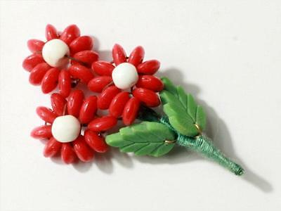 Czech Vintage art glass wired red rondelle beaded Flower bouquet leaf pin brooch