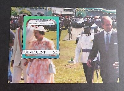 St Vincent 1986 Queen's 60th Birthday MS Miniature Sheet MNH UM unmounted mint
