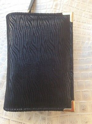 Genuine Black wavey lines leather  bible cover for pocket NWT (nwtpkt-E)