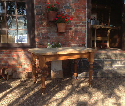 Solid Pine Victorian Style Reclaimed Scrub Top Farmhouse Kitchen Table 4ft x 3ft