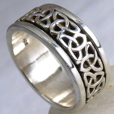 CELTIC KNOT SPINNER Size US 8.5 SilverSari Fidget RING Solid 925 Sterling Silver