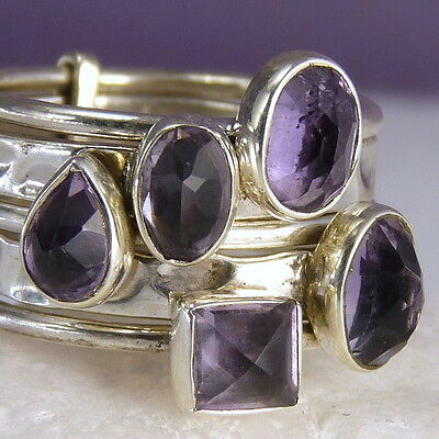 STACK 5 Rings SilverSari Size US 7 (O) Solid 925 Sterling Silver AMETHYST