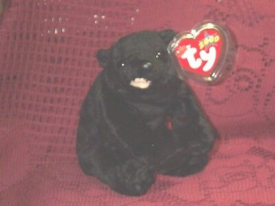 """TY Beanie baby babies Black Bear Cinders Sitting 4-30-2000 retired mint tags 4"""""""
