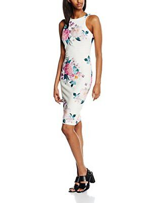 New Look Burn Floral, Vestito Donna, White (White Patterned), 38