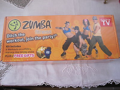 Zumba Fitness Kit-6 Workouts /4 DVD 2 Toning Sticks Plus 2 Gifts ( STILL SEALED)