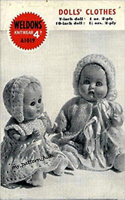 """Vintage Doll Clothes Knitting Pattern  WELDONS # A1019  Copy 7""""-10"""" Doll  4 Ply"""