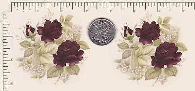 "2 x Ceramic decal Decoupage Deep Red Roses Circular 3"" COMBINE POSTAGE PD93a"