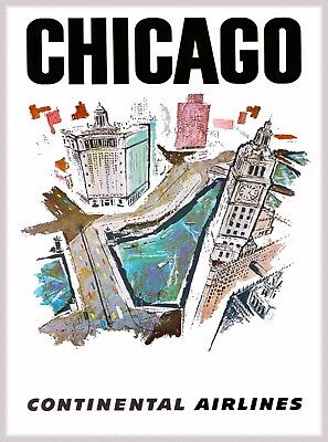 Chicago Illinois Contenental Airlines United States Travel Advertisement Poster