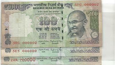 Fancy No. Of Rupees 100 Of India ( 3 Notes )  0000002,006000,700000