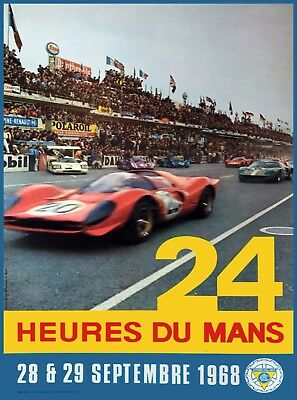 1968 24 Hours Le Mans French Automobile Race Advertisement Vintage Poster