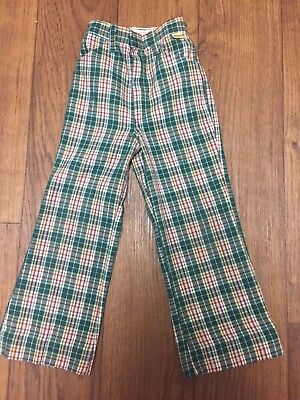Kids Vintage Plaid Bell Bottoms Green Red Holiday Christmas Winter 5 6